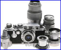 Leica IIIf self timer 5x LTM lenses case kit accessories 35mm film Leitz camera