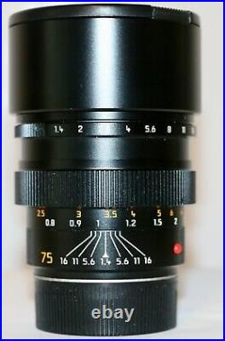 Leica Leitz 75mm f/1.4 Summilux-M Pre ASPH Black Cat. No. 11815 Made in 1993