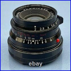 Leica Leitz Summicron 35mm F2 Black Re-paint M 11308 8 Element 1st Version Lens