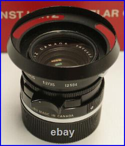 Leitz Leica Summicron 35mm f/2.0 (Canada) Version 3 (1976) M Mount Lens