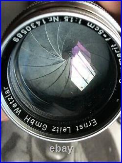 Vintage 1956 LEICA SUMMARIT 50mm 5cm f1.5 LTM M39 Screw Mount Leitz Wetzlar Lens
